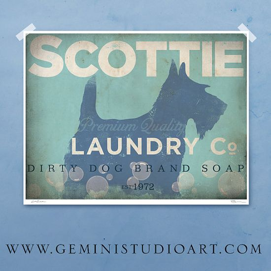 Scottie Scottish Terrier laundry company laundry by geministudio, $25.00