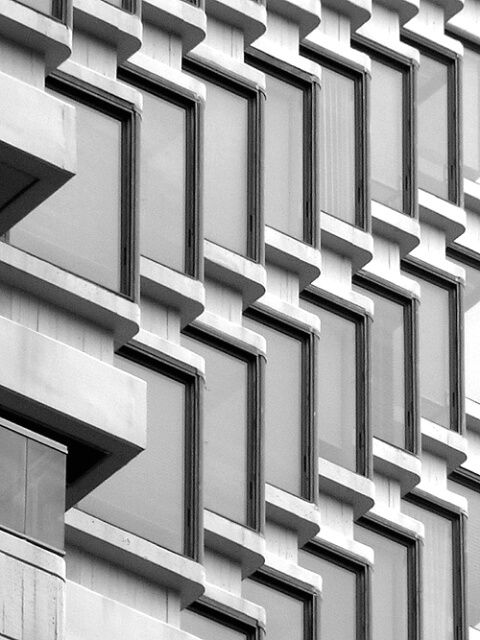 *architecture, facades, windows, stone, concrete, black and white photography*