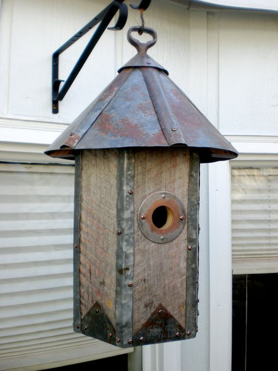 Arts and Crafts Hexagonal Birdhouse Made of Reclaimed Barn Wood and Metal Roofing