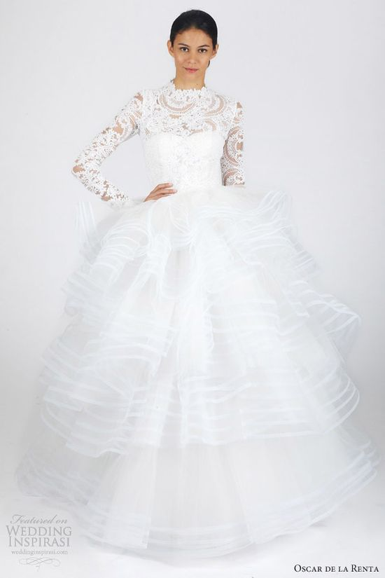 oscar de la renta bridal fall 2013 long sleeve ball gown wedding dress