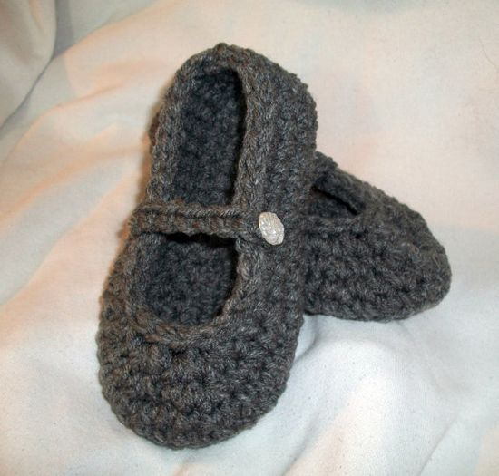 Girls Crochet Mary Jane Slippers  Your Size by NiftyNeedlework, $9.99