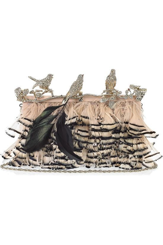 Valentino bird-encrusted diamond & feather clutch.
