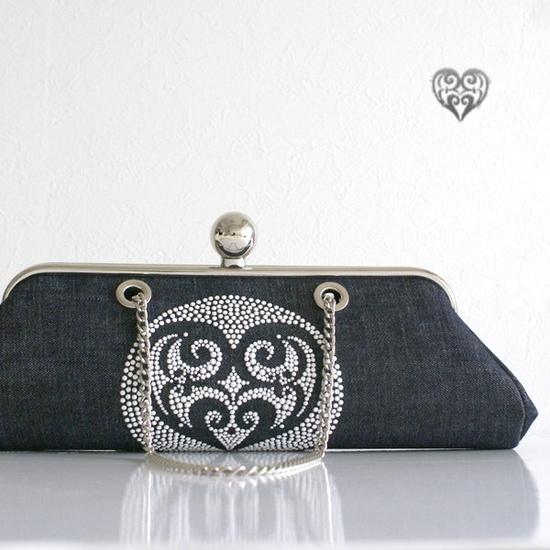 "Denim Handbag with rhinestone embellishment - ""HEART"" motif / dark indigo blue. $260.00, via Etsy."