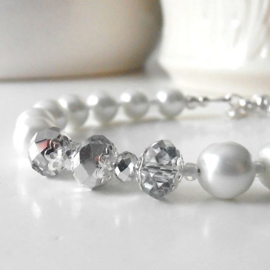 White Pearl Bracelet Bridesmaid Jewelry Bridal by FiveLittleGems, $16.00