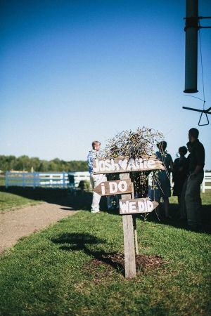 """""""i do"""" / """"we did"""" signs for ceremony and reception // photo by JustAlexPhotograp..."""