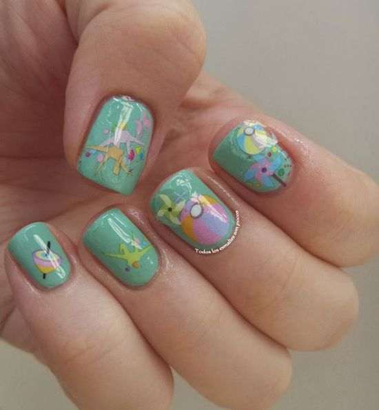 Colaboración con Bornprettystore: Sheet Nail Water Decals Sticker Colorful Rose Flowers Cat Balloon Transfer Sticker -
