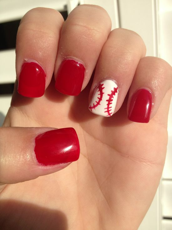 Baseball nails. cute and simple enough...  Free Nail Technician Information  www.nailtechsucce...