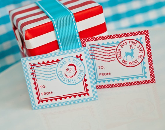 New Printable North Pole Christmas Stamp Gift Tags with cute Santas and Reindeer!