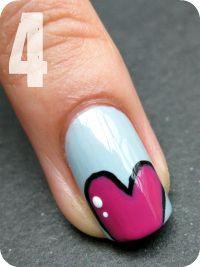 cute heart nails