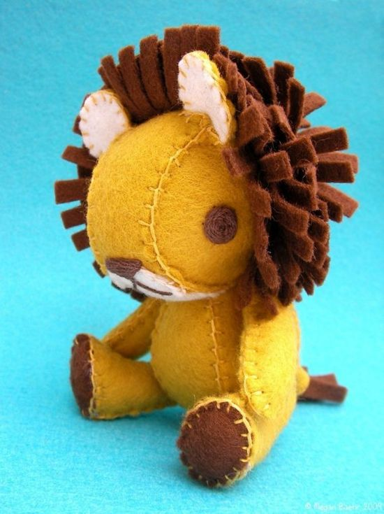 adorable felt plush lion