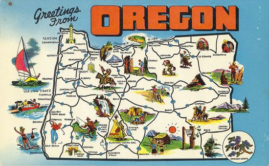 Love this retro map of Oregon. Can't wait till I'm there.