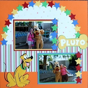 Pluto, like layout of the page, Disney scrapbook layout