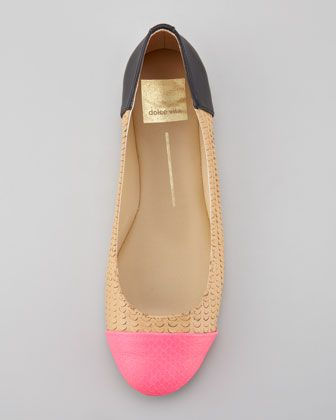 Dolce Vita | Baca Fish-Scale Ballerina Flats, Pink/Nude, Black (Stylist Pick!) - CUSP The theme of stylist Emily Godbolds February picks is: Mixing Prints! Get mixing and matching with all of her top apparel and accessories options.  Perforated leather furnishes this Dolce Vita balleri Neiman Marcus,InCircle,prada,bcbg,marc jacobs,chloe,frye,juicy couture,manolo blahnik,isabella fiore,eileen fisher,kate spade,vera wang,stuart weitzman,catherine malandrino,rock and republic,burberry,Theory,seven jeans,trina turk,dior,dana buchman,lacoste,tory by trb,yves saint laurent