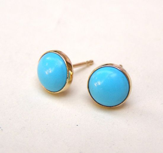 Turquoise Earrings Studs in Recycled 14k yellow Gold by OritNaar