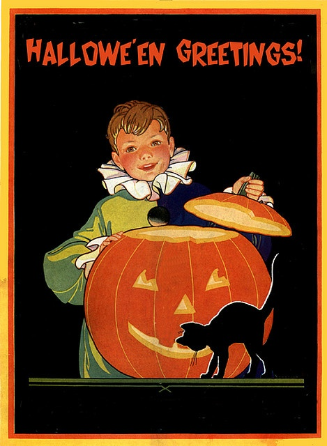 A Boy and His JOL--Vintage Halloween Child Life Magazine Cover