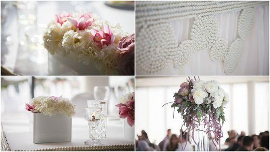 Romantic wedding decoration #pearls #white #rose