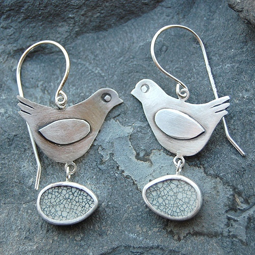 Pottery Shard jewelry - Bird with Egg Earrings in Sterling Silver