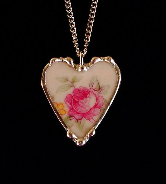 Antique pink rose porcelain china broken china jewelry heart pendant necklace