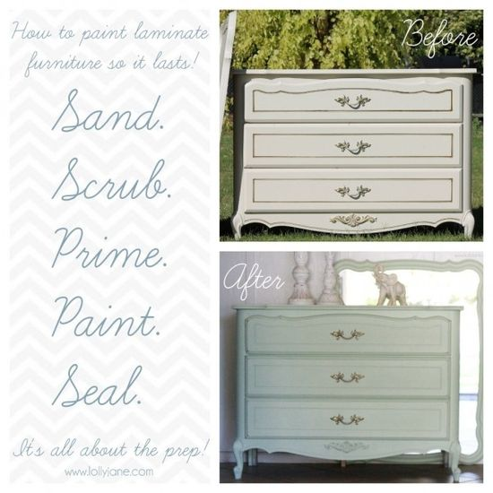 How to paint laminate furniture. #DIY #furniture #painting