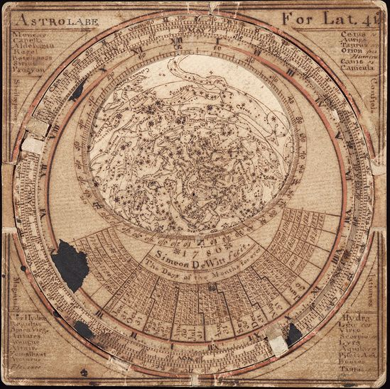 "This is the oldest surviving Anglo-American star map, made in 1780 by Simeon De Witt. Drawing the map, De Witt said, fostered an appreciation for ""the ever shifting scenery of the skies and all the gorgeous drapery of heaven."""