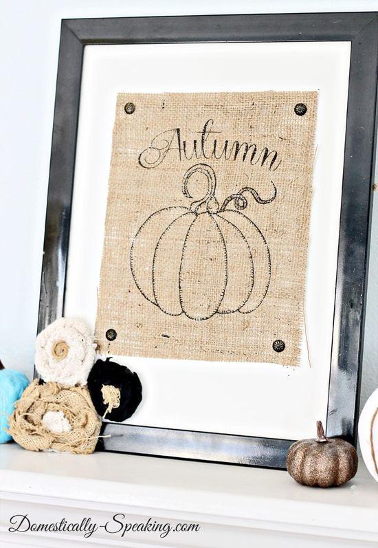 Autumn Burlap Pumpkin #autumn #fall #burlap #pumpkin #art #mantel