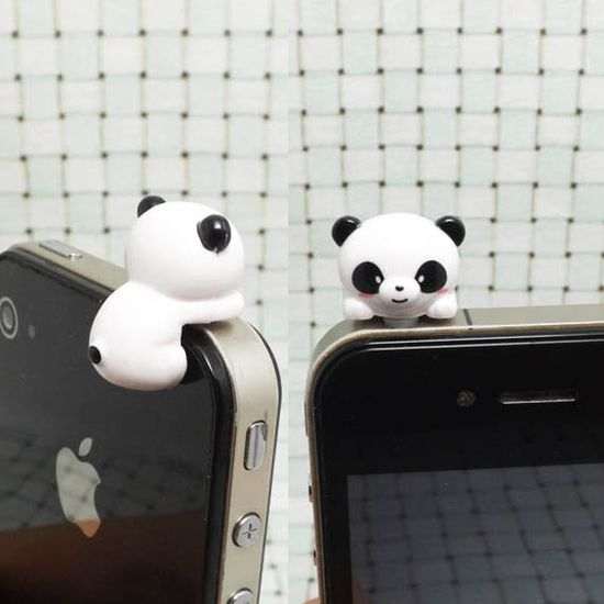 30%OFF Cute White Black Hanging Panda Anti Dust Plug 3.5mm Phone Dust Stopper Earphone Cap Headphone Jack Charm iPhone 4 4S 5 HTC Samsung on Etsy, $3.99