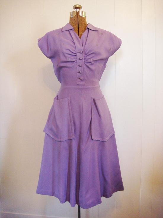Vintage 1940s Dress with Rhinestones Purple Lilac Linen Garden