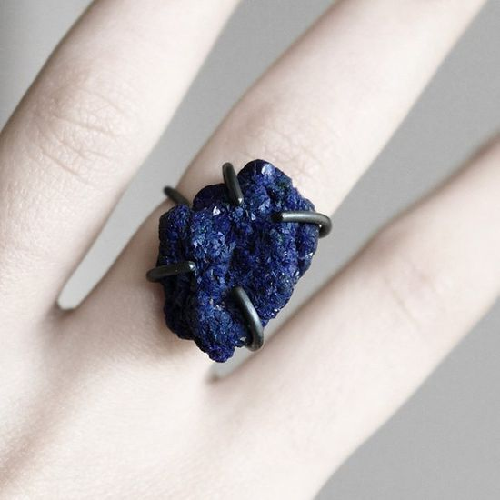 oxidized sterling silver royal blue azurite ring
