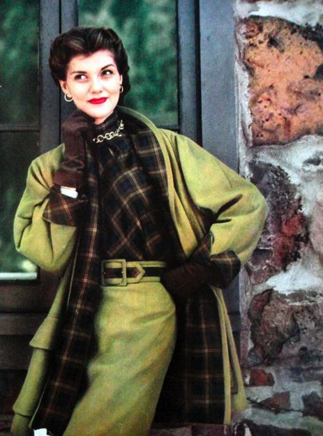 Fresh, eye-catching, and strikingly lovely. #coat #skirt #plaid #brown #green #vintage #fashion #clothing #1950s
