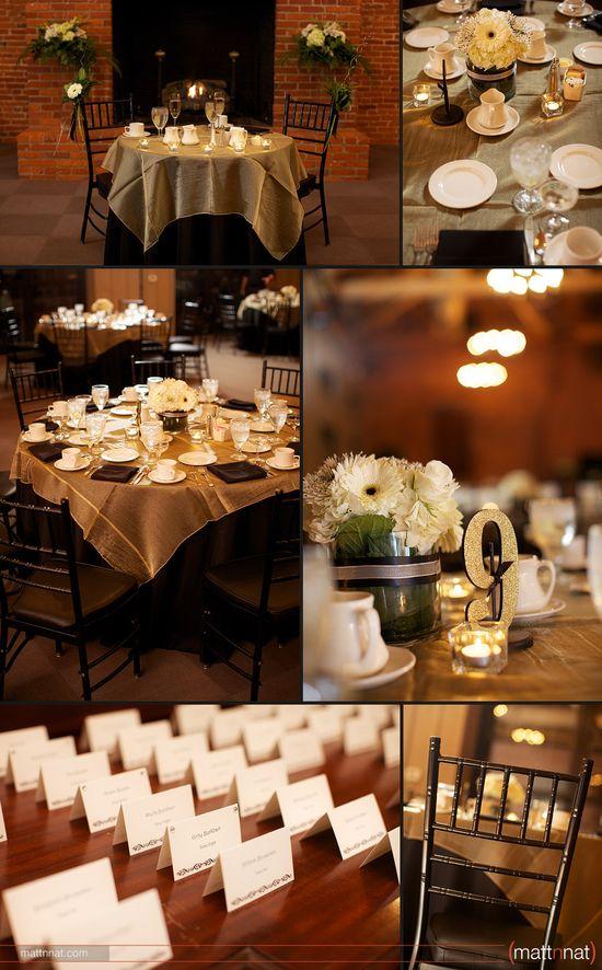 Black & Gold wedding reception