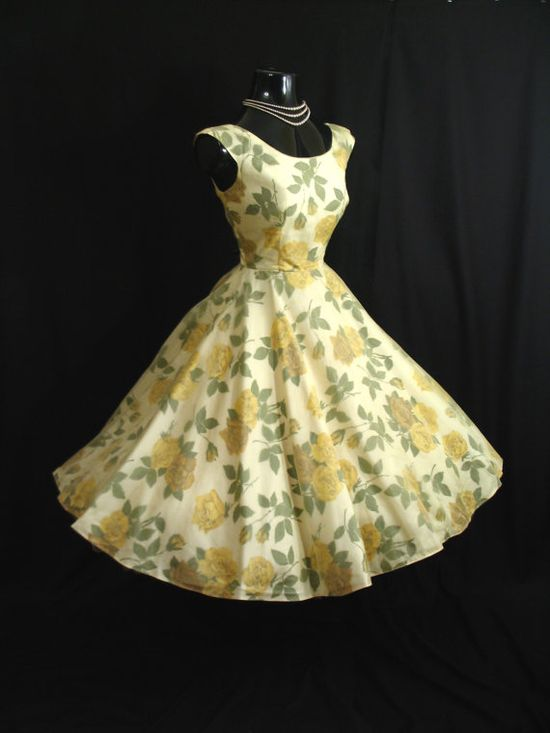 Vintage 1950's 50s Lemon Yellow Chiffon Organza by VintageVortex