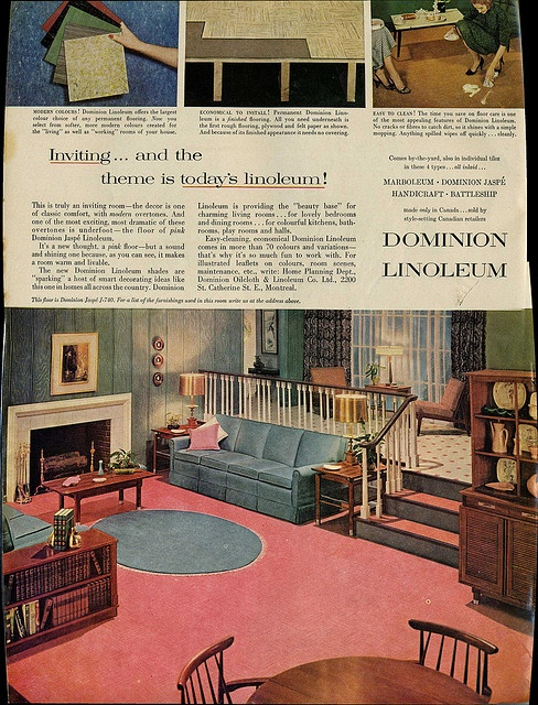 September 1958 ad for linoleum in Canadian Homes & Gardens