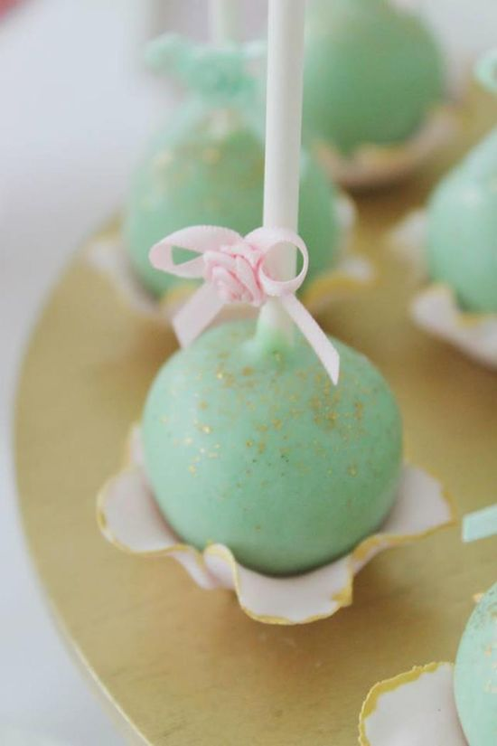 Pretty CAKE POPS at a Mint, Pink, and Gold Tea Party with So Many Really Cute Ideas via Kara's Party Ideas