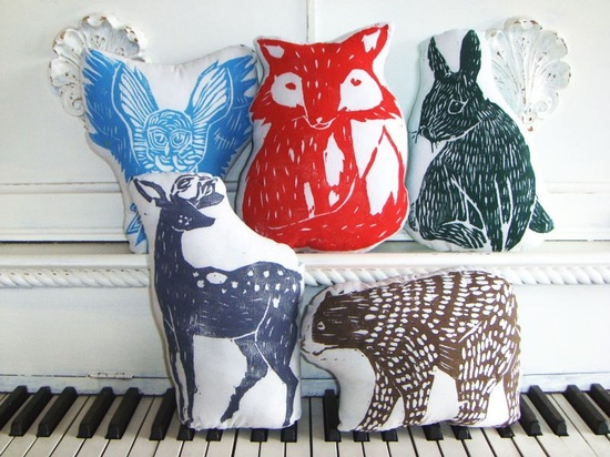 Woodland Creatures Collection. 5 Plush Animal Pillows. Woodblock Printed. Save 10%. Customizable Colors.. $74.00, via Etsy.
