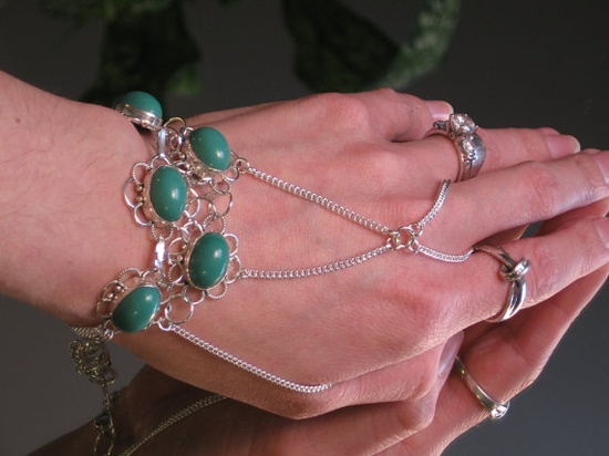 Turquoise Gemstone Slave Bracelet Ring by TheMysticalOasisGlow, $55.00