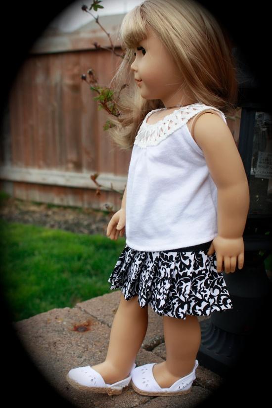 Trendy Pleated Black White SKIRT for American Girl made from popular Liberty Jane Pattern. $12.00, via Etsy.