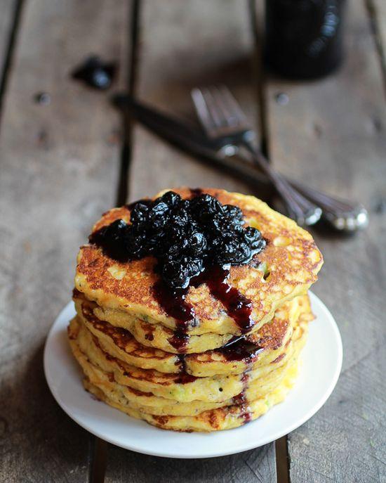 Jalapeño Cheddar Cornbread Pancakes with Roasted Blueberry Honey Syrup by halfbakedharvest #Pancakes #Savory #Cheddar #Jalapeno #Cornbread #Blueberry