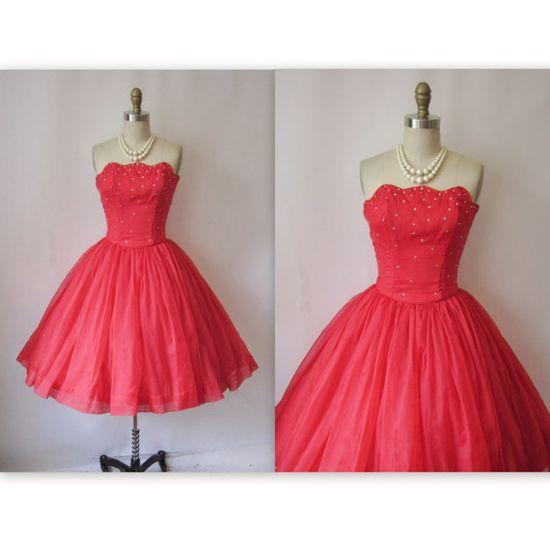 1950's Cherry Red Chiffon Rhinestone Prom Wedding Party Dress