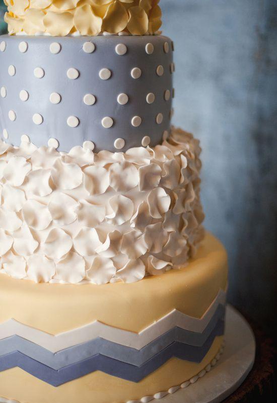 blue, yellow, and white cake