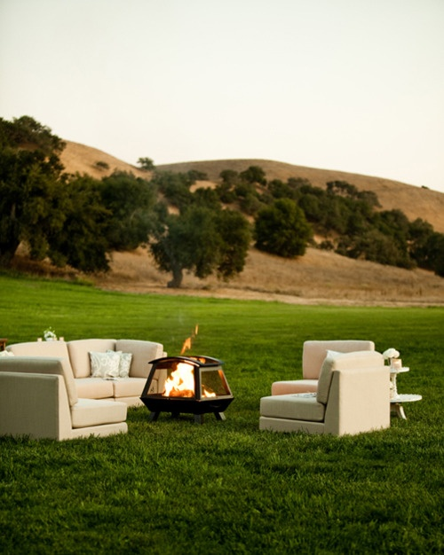 Outdoor Wedding Reception, Firepit and Seating Area