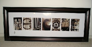 Do it yourself gift idea...take the picture yourself then put them in a frame to spell a word.