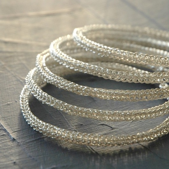 Sterling silver bangle bracelets  three 3 bangles wire by Yoola, Beautiful!