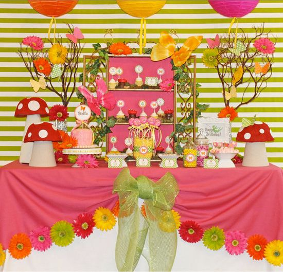 Enchanted Fairy Party ~ This bright and happy Fairy Collection is so versatile it could be used for birthday parties, garden parties, tea parties, baby showers, etc. From butterflies to toadstools, a sweet little fairy and a yummy color palette!