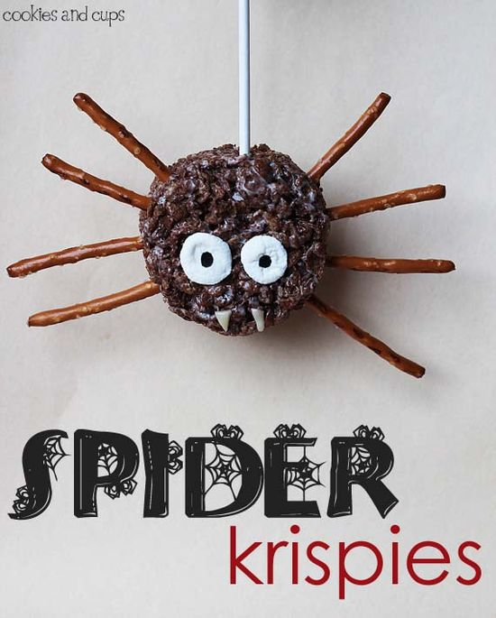 Easy Spider Krispie Treats!  #halloween #treats #recipe #spider #treats #fall #diy #kids #party #ideas #spiders #snacks #dessert #krispie #rice #pretzels #cool #awesome