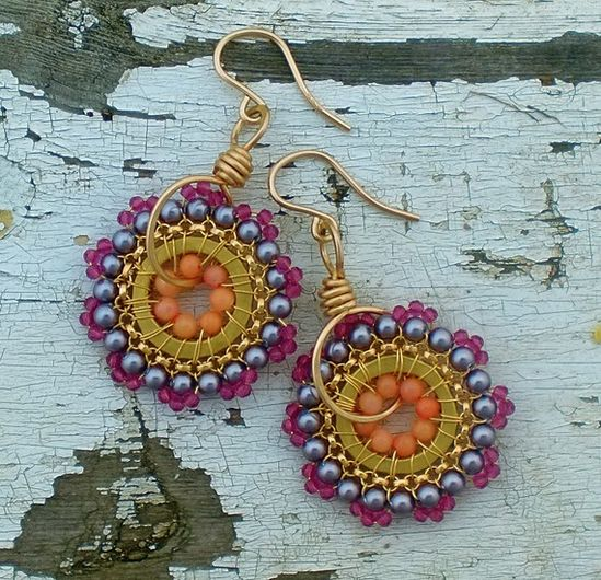 Beads and Wire wrapped into a colorful earring set!