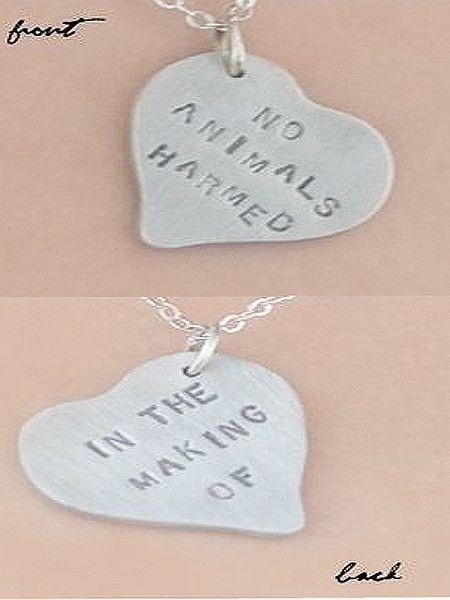 """No Animals Harmed"" Necklace $27.50"