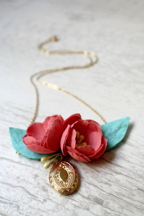 Coral and Mint Handmade Fabric Flower and Golden by AuroraWithLove