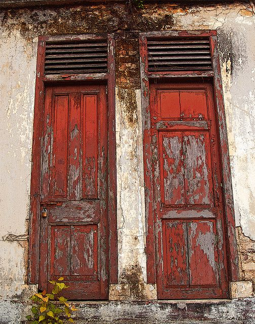 Old Weathered  Red Doors...