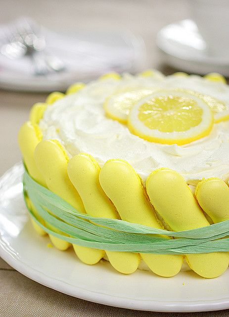 What a splendidly sunny, beautiful, perfectly Easter worthy Lemon Charlotte Cake. #cake #Charlotte #pastry #French #food #dessert #lemon #baking #spring #yellow #Easter #summer #citrus