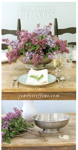 DIY Centerpiece - How to Arrange Lilacs - Easy tips for flower arranging